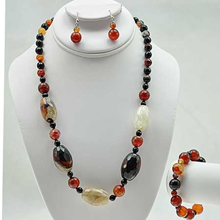 NKL-23-BROWN (SET OF 3) - WHOLESALE GENUINE CRYSTAL AND GLASS NECKLACE SET