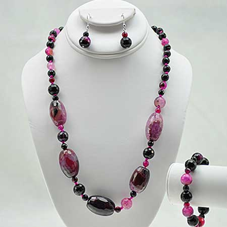 NKL-23-FUSC (SET OF 3) - WHOLESALE GENUINE CRYSTAL AND GLASS NECKLACE SET