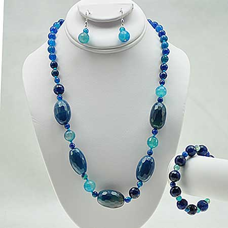 NKL-23-TURQ (SET OF 3) - WHOLESALE GENUINE CRYSTAL AND GLASS NECKLACE SET
