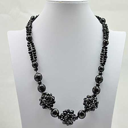 NKL-6-BLACK - WHOLESALE GENUINE CRYSTAL AND GLASS NECKLACE
