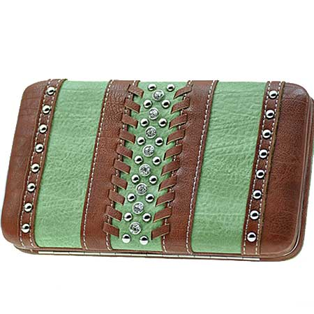 ODU-3000-SAGE - WHOLESALE FLAT WALLETS/OPERA STYLE METAL FRAME