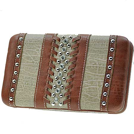 ODU-3000-TAN - WHOLESALE FLAT WALLETS/OPERA STYLE METAL FRAME
