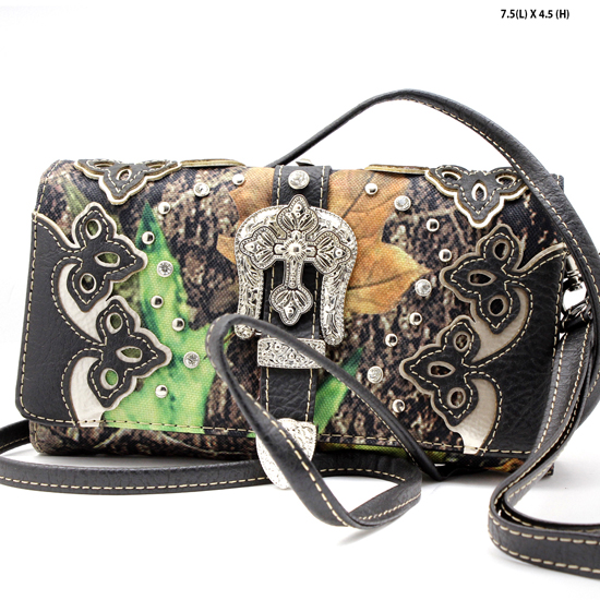 2066-NCM-CAMO-BLACK - WHOLESALE WESTERN WALLETS HIPSTER CROSS BODY STYLE