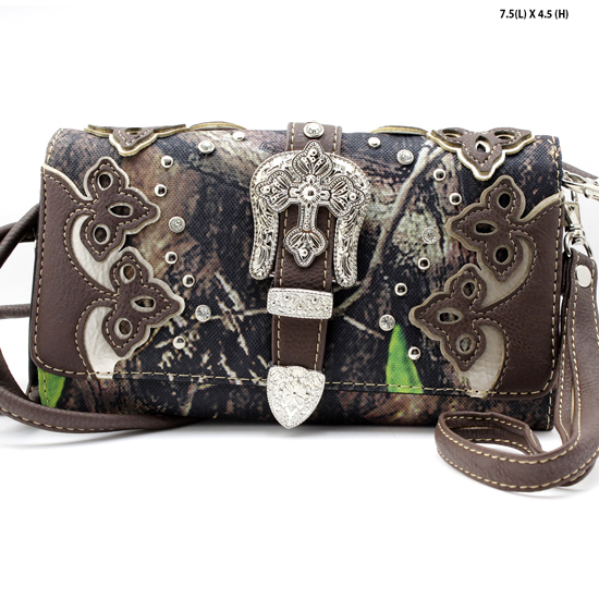 2066-NCM-CAMO-BROWN - WHOLESALE WESTERN WALLETS HIPSTER CROSS BODY STYLE