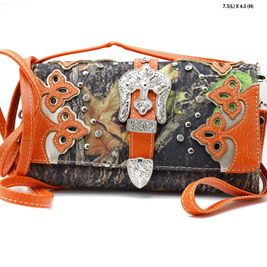 2066-NCM-CAMO-ORANGE - WHOLESALE WESTERN WALLETS HIPSTER CROSS BODY STYLE