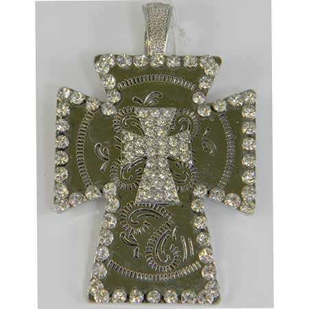 PD-110414-DBCR-01 - WHOLESALE WESTERN RHINESTONE CROSS PENDANT