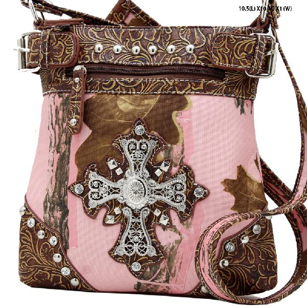 CROSS-PML2-469-BROWN - RHINESTONE WESTERN CROSS CAMOUFLAGE HANDBAGS