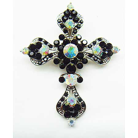 PNDT-292-BLACK - WHOLESALE WESTERN RHINESTONE CROSS PENDANT