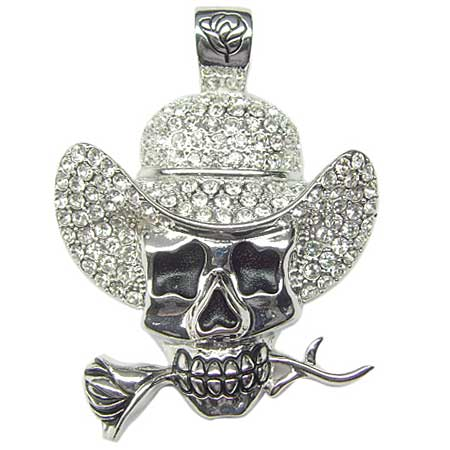 PNDT-SKULL-842-CLEAR - WHOLESALE RHINESTONE STUDDED SKULL PENDANTS