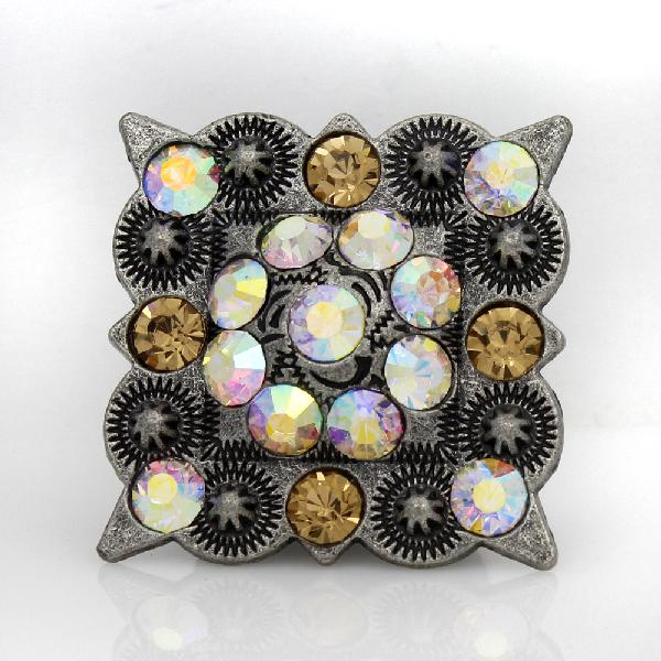 CONCHO-SQ-BRY-BROWN-(5PCS) - WHOLESALE WESTERN RHINESTONE CONCHOS