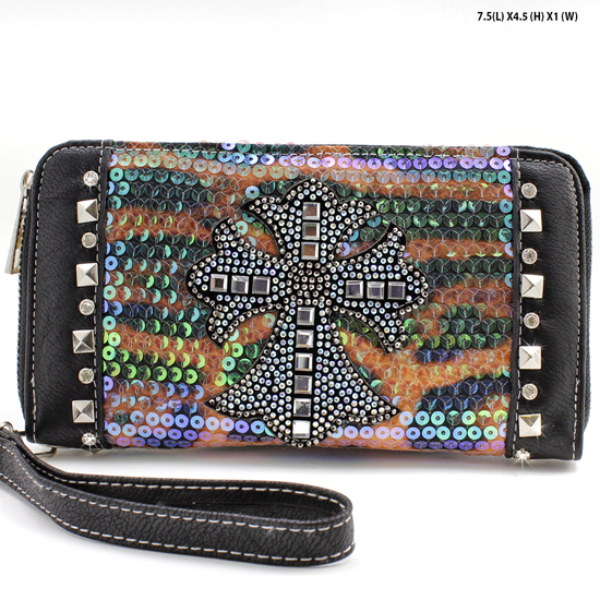 PS-245-BLACK - WHOLESALE WOMENS WESTERN BUCKLE WALLET