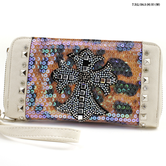 PS-245-BONE - WHOLESALE WOMENS WESTERN BUCKLE WALLET