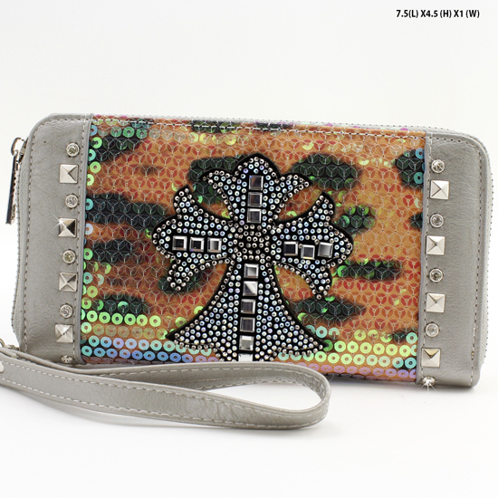 PS-245-PEWTER - WHOLESALE WOMENS WESTERN BUCKLE WALLET