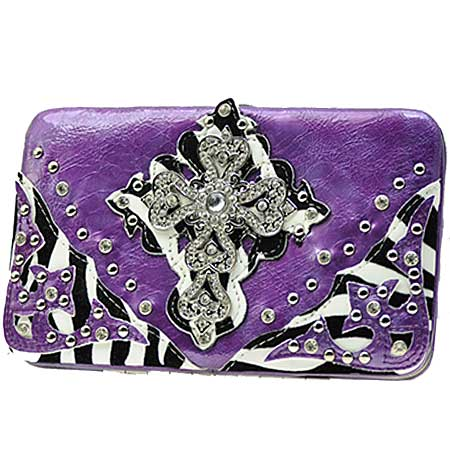 .RAFZ-LCR-305-PURPLE - WHOLESALE FLAT WALLETS/OPERA STYLE METAL FRAME