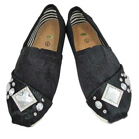 S1001-BLACK-CLEAR - WESTERN RHINESTONE HAIR ON HIDE SHOES