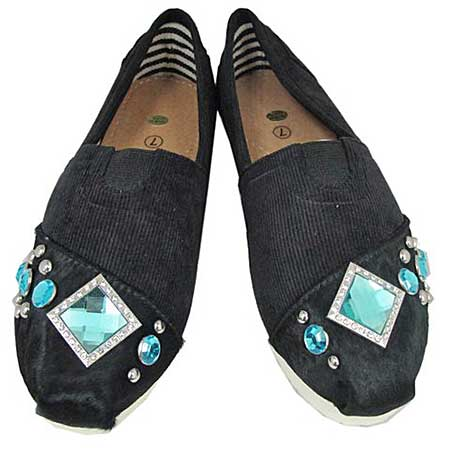 S1001-BLACK-TURQ - WESTERN RHINESTONE HAIR ON HIDE SHOES