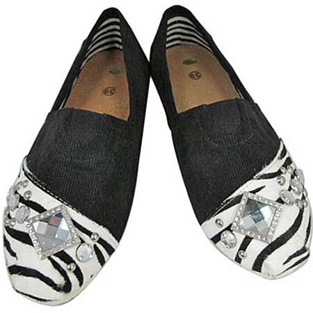 S1001-BK-ZEB-HIDE - WESTERN RHINESTONE HAIR ON HIDE SHOES