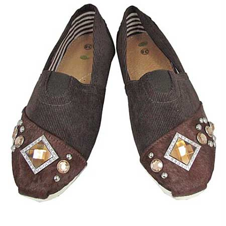S1001-BROWN-BROWN - WESTERN RHINESTONE HAIR ON HIDE SHOES