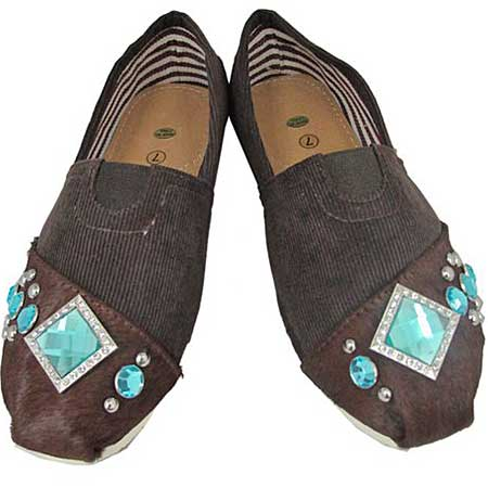 S1001-BROWN-TURQ - WESTERN RHINESTONE HAIR ON HIDE SHOES