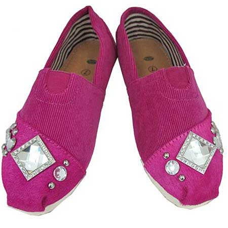 S1001--PINK - WESTERN RHINESTONE HAIR ON HIDE SHOES