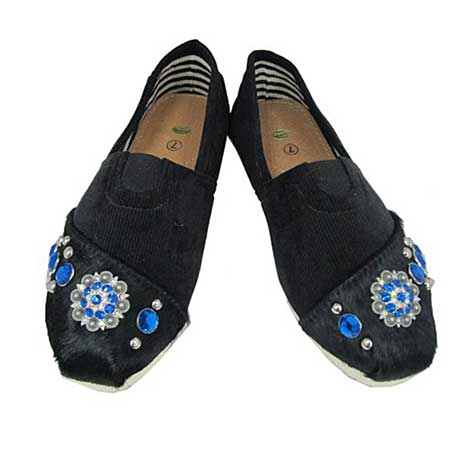 S1002-BLACK/NAVY - WESTERN RHINESTONE HAIR ON HIDE SHOES