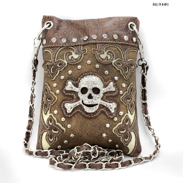 SKULL-W28-2030--BROWN - WHOLESALE RHINESTONE CRYSTAL CELLPHONE CASES/POUCHES