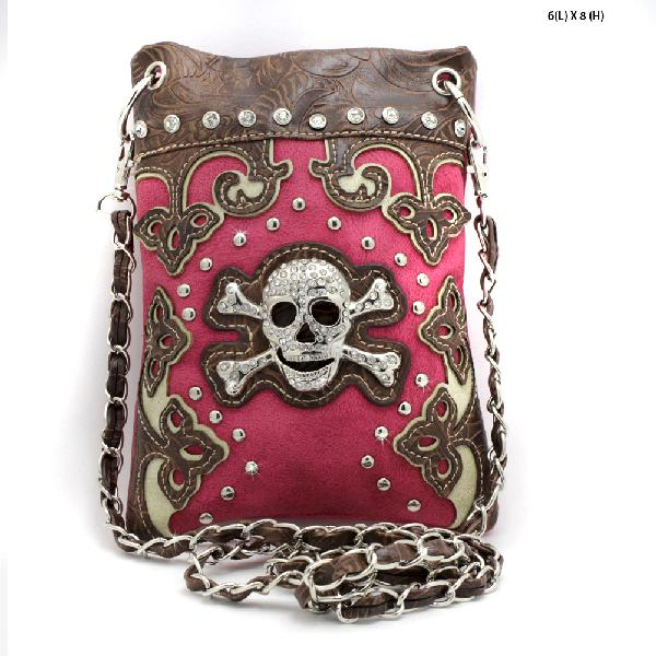 SKULL-W28-2030--HTPK - WHOLESALE RHINESTONE CRYSTAL CELLPHONE CASES/POUCHES