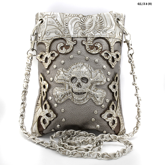 BHWSK-2030-W23-PEWTER - WHOLESALE RHINESTONE CRYSTAL CELLPHONE CASES/POUCHES