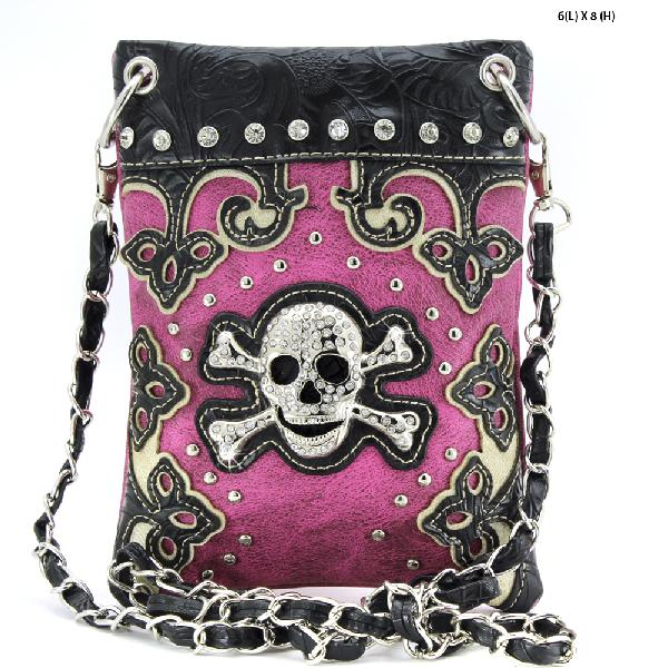 SKULL HIPSTER PHONE BAGS - BHW-SK76-W28--PURPLE WHOLESALE RHINESTONE CRYSTAL CELLPHONE CASES/POUCHES