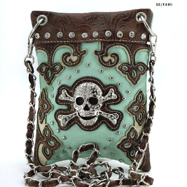 SKULL HIPSTER PHONE BAGS - BHW-SK76-W28--MINT WHOLESALE RHINESTONE CRYSTAL CELLPHONE CASES/POUCHES
