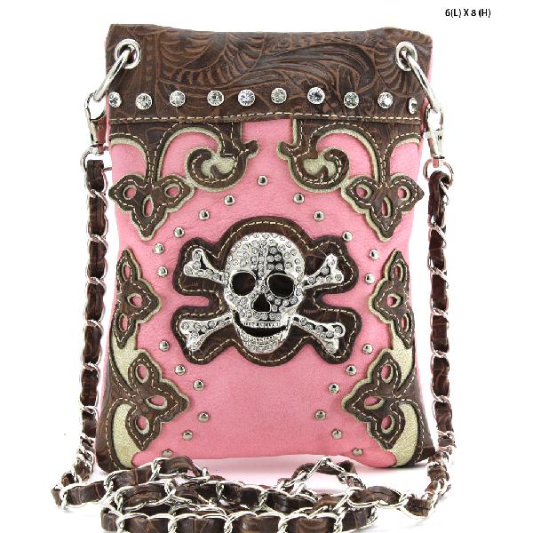 SKULL HIPSTER PHONE BAGS - BHW-SK76-W28--PEACH WHOLESALE RHINESTONE CRYSTAL CELLPHONE CASES/POUCHES