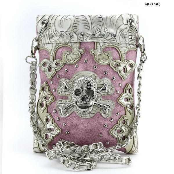 SKULL HIPSTER PHONE BAGS - BHW-SK76-W28--PINK WHOLESALE RHINESTONE CRYSTAL CELLPHONE CASES/POUCHES