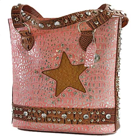 STR104-PINK - HAIR ON HIDE RHINESTONE STUDDED STAR HANDBAGS