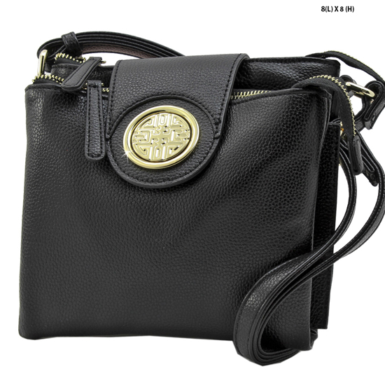T-1180-BLACK - NEW DESIGNER INSPIRED RUNWAY STYLE HIPSTER PURSE MESSENGER BAG
