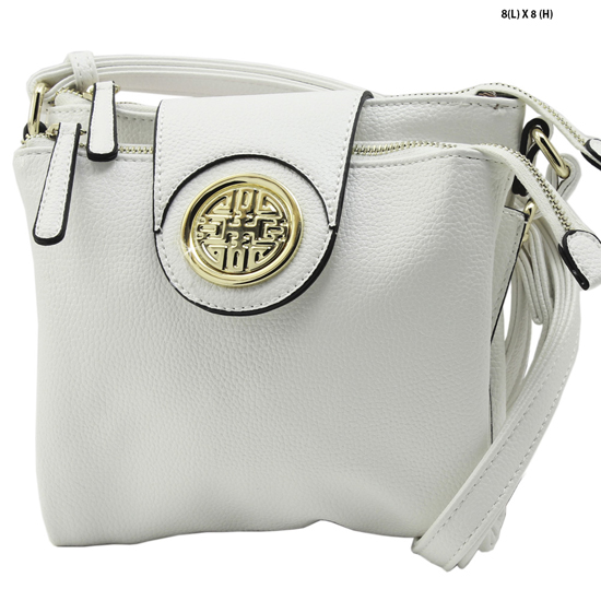 T-1180-WHITE - NEW DESIGNER INSPIRED RUNWAY STYLE HIPSTER PURSE MESSENGER BAG