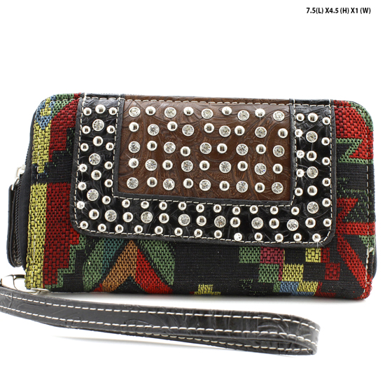 TC-245-BK/BLACK - WHOLESALE WOMENS WESTERN BUCKLE WALLET