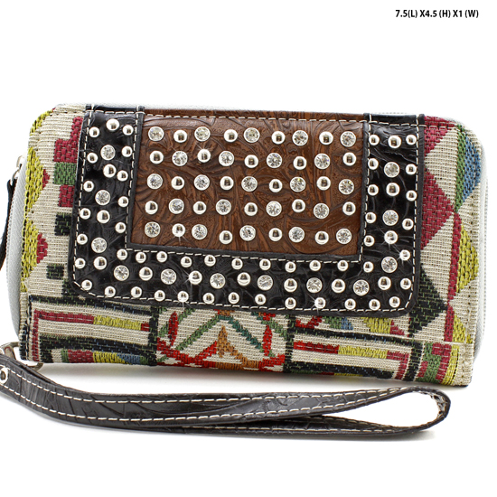 TC-245-BK/BONE - WHOLESALE WOMENS WESTERN BUCKLE WALLET