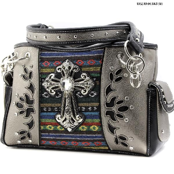 TR-893-PEWTER - WHOLESALE CROSS CONCELAED WEAPON HANDBAGS CONCEALED HANDGUN CARRY PURSES