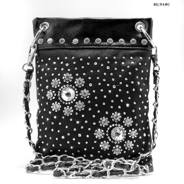 2030-D-BLACK - WHOLESALE RHINESTONE CRYSTAL CELLPHONE CASES/POUCHES