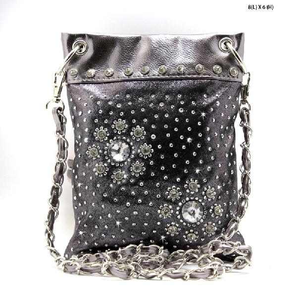 2030-D-PEWTER - WHOLESALE RHINESTONE CRYSTAL CELLPHONE CASES/POUCHES