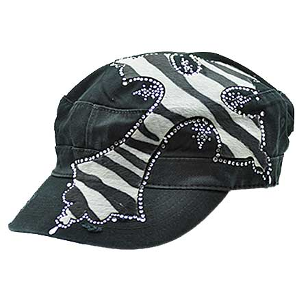 XL-PATCH-ZB-BK/WT - WHOLESALE RHINESTONE CROSS CADET STYLE CAPS