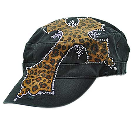 XL-PATCH-LEO/BRN - WHOLESALE RHINESTONE CROSS CADET STYLE CAPS