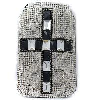 UCCP-CROSS-CL-BLK - WHOLESALE RHINESTONE CRYSTAL CELLPHONE CASES/POUCHES
