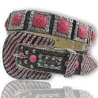1135-BROWN/PINK - WHOLESALE WESTERN RHINESTONE BLOCK CRYSTAL  BELTS