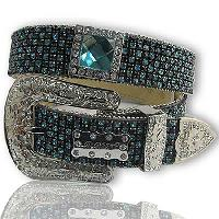 1208-BLACK/TURQ - WHOLESALE WESTERN RHINESTONE BELTS/BHW BRAND BELTS