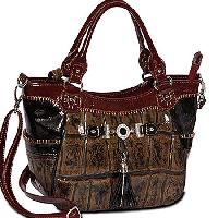 2322-BROWN - WHOLESALE ALL GENUINE DESIGNER LEATHER HANDBAGS