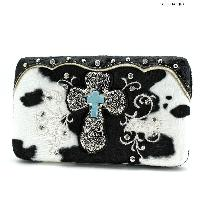 COW-305-47-BLK-WT - RHINESTONE STUDDED CROSS COW PRINT WALLETS
