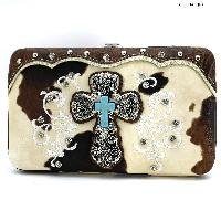 COW-305-47-BROWN - RHINESTONE STUDDED CROSS COW PRINT WALLETS