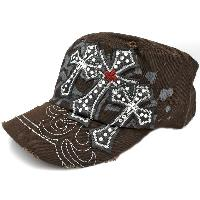 CAD-3CROSS-35-D-BROWN - WHOLESALE RHINESTONE CROSS CADET STYLE CAPS