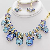 500106-BLUE - WHOLESALE GLASS CRYSTAL NECKLACE SET